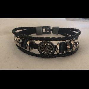 Other - Black Unisex Leather Braided Bracelet